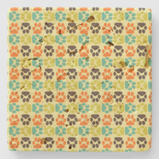 Whimsical Cute Paws Pattern Stone Coaster