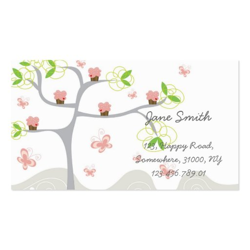 Whimsical Cute Pink Cupcakes Tree Profile Card Business Card Templates