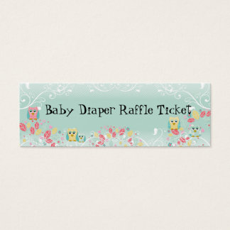 Whimsical Cute Swirl Owl Baby Diaper Raffle Ticket