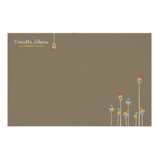 Whimsical Cute Tweet Birds Colorful Fun Tree Dots Customised Stationery