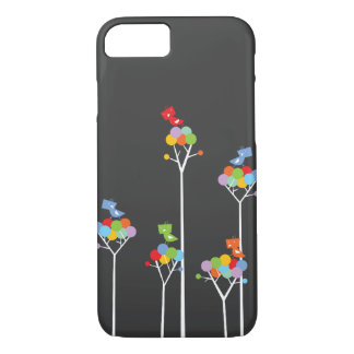 Whimsical Cute Tweet Birds Colorful Fun Tree Dots iPhone 7 Case