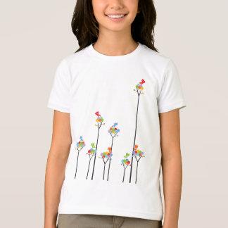 Whimsical Cute Tweet Birds Colorful Fun Tree Dots T-Shirt