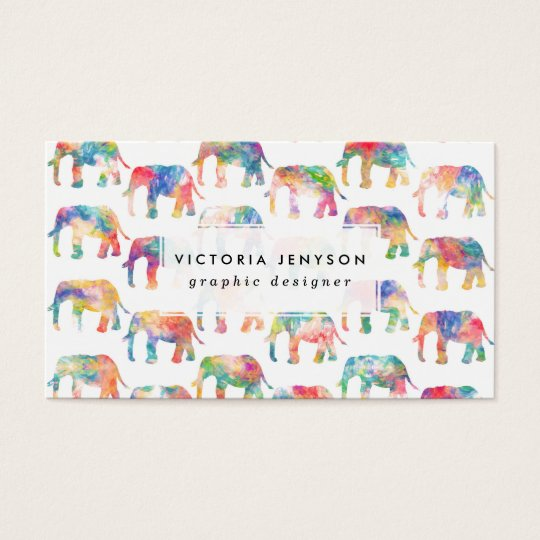 Whimsical Cute Watercolor Elephants Pattern Business Card