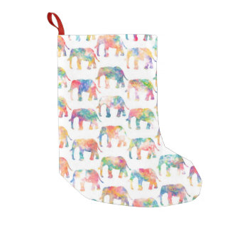 Whimsical Cute Watercolor Elephants Pattern Small Christmas Stocking