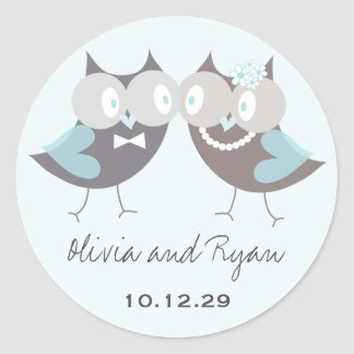 Whimsical Cute Wedding Brown Blue Owls Favor Round Sticker