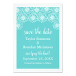 Whimsical Daisies Save the Date Invite, Aqua 13 Cm X 18 Cm Invitation Card