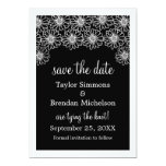 Whimsical Daisies Save the Date Invite, Black