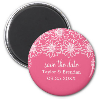 Whimsical Daisies Save the Date Magnet, Pink 6 Cm Round Magnet