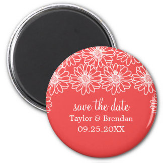 Whimsical Daisies Save the Date Magnet, Red 6 Cm Round Magnet