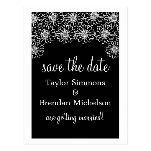 Whimsical Daisies Save the Date Postcard, Black Postcard