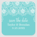 Whimsical Daisies Save the Date Stickers, Aqua