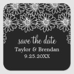 Whimsical Daisies Save the Date Stickers, Black
