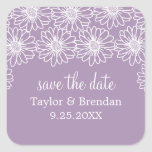 Whimsical Daisies Save the Date Stickers, Lilac