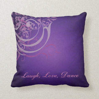Whimsical Dance PInk Scroll Purple Mojo Pillow Cushion