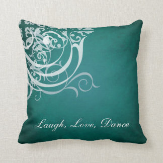 Whimsical Dance White Scroll Teal Mojo Pillow Cushions