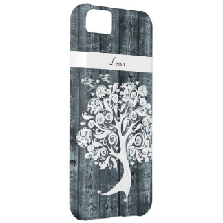 Whimsical Dancing Tree Blue Wood Personalized iPhone 5C Case