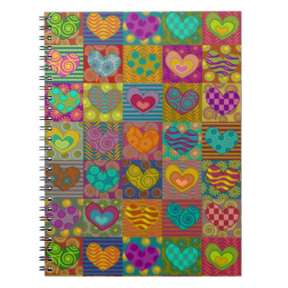 Whimsical , decorated hearts notebooks