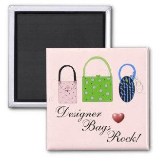 whimsical Designer Bags Square Magnet