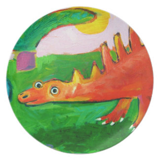 Whimsical Dinosaur plate