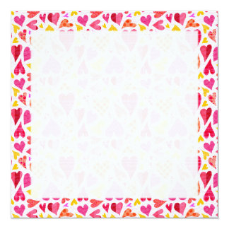 Whimsical Doodle Hearts with Patterns and Texture 13 Cm X 13 Cm Square Invitation Card