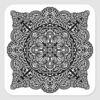 Whimsical Doodle Square Sticker
