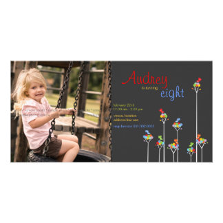 Whimsical Dot Trees Birds Kids 8th Birthday Party Personalised Photo Card