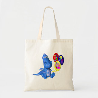 Whimsical Dragon Holding Balloons Tote Bag