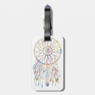 Whimsical Dream Catcher Watercolor Girly Bag Tag