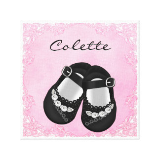 Whimsical Dress Pink and Black Baby Girl Gallery Wrapped Canvas