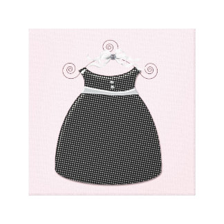 Whimsical Dress Pink and Black Baby Girl Stretched Canvas Prints