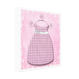 Whimsical Dress Pink and Gray Baby Girl Gallery Wrap Canvas