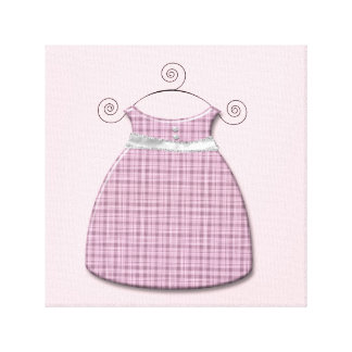 Whimsical Dress Pink and Gray Baby Girl Gallery Wrapped Canvas