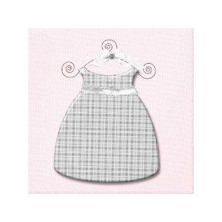 Whimsical Dress Pink and Gray Baby Girl Stretched Canvas Print