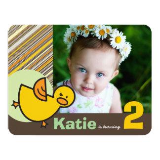 Whimsical Duck Green Girl Birthday Photo Invite