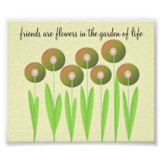 Whimsical Earth Tone Flowers with Saying Poster