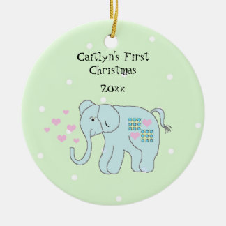 Whimsical Elephant Baby's First Christmas Christmas Ornament