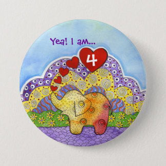 Whimsical Elephant Child's Party Button