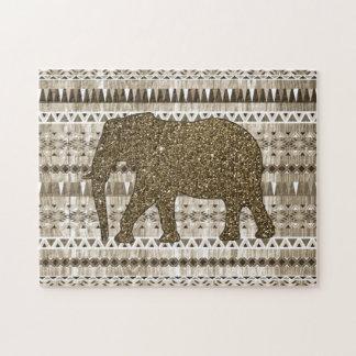 Whimsical Elephant Tribal Pattern on Wood Design Jigsaw Puzzle