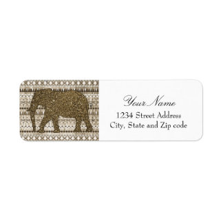 Whimsical Elephant Tribal Pattern on Wood Design Return Address Label