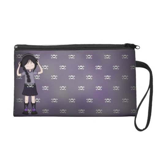 Whimsical Emo Goth Girl with Music Headphones Wristlet Clutches