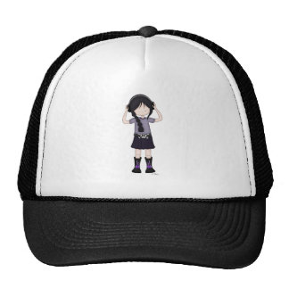 Whimsical Emo Goth Girl with Music Headphones Cap