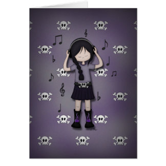 Whimsical Emo Goth Girl with Music Headphones Card