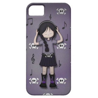 Whimsical Emo Goth Girl with Music Headphones iPhone 5 Case