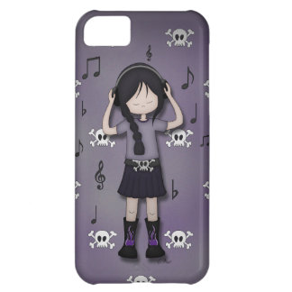 Whimsical Emo Goth Girl with Music Headphones iPhone 5C Case