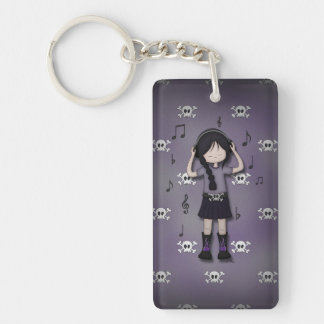 Whimsical Emo Goth Girl with Music Headphones Key Ring