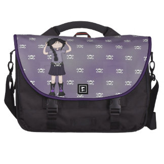 Whimsical Emo Goth Girl with Music Headphones Bag For Laptop