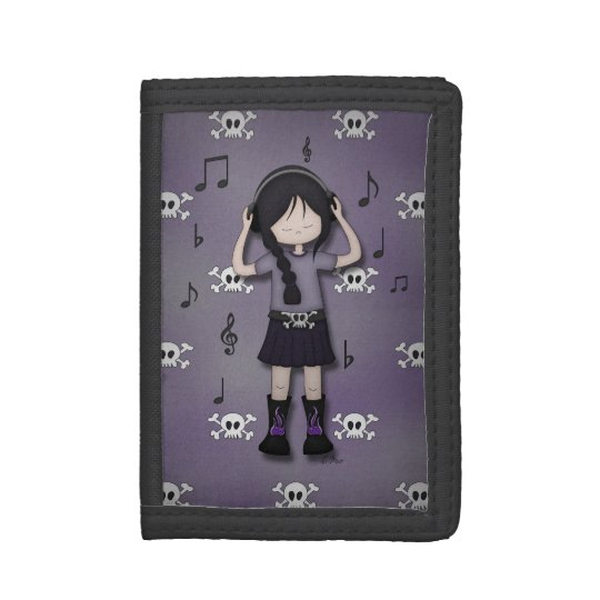 Whimsical Emo Goth Girl with Music Headphones Tri-fold