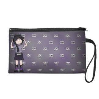 Whimsical Emo Goth Girl with Music Headphones Wristlet Purses