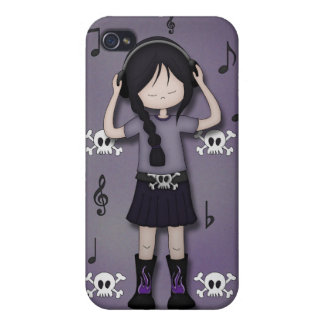 Whimsical Emo Goth Girl with Music Heads iPhone 4/4S Case