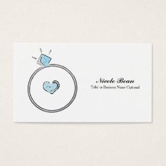 Whimsical Engagement Wedding Ring Illustration Business Card